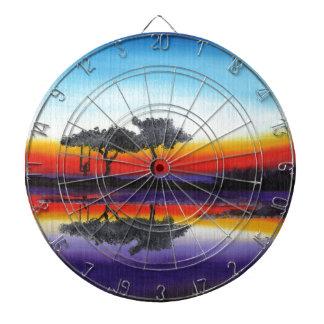 Colorful Swing Lake Oil Painting Dartboard