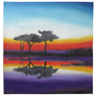 Colorful Swing Lake Oil Painting Napkin
