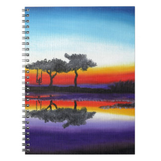 Colorful Swing Lake Oil Painting Spiral Notebook