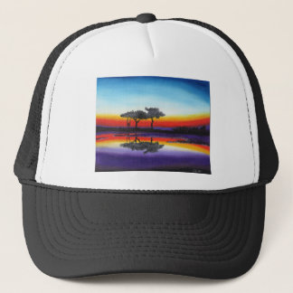 Colorful Swing Lake Oil Painting Trucker Hat