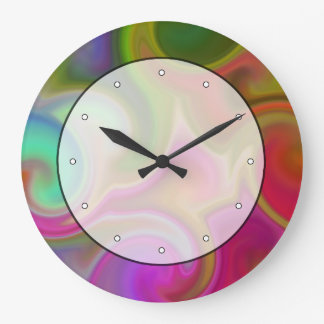 Colorful Swirl Abstract. Large Clock