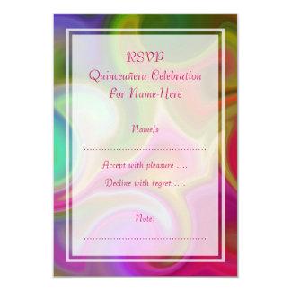 Colorful Swirl Design Quinceanera 9 Cm X 13 Cm Invitation Card