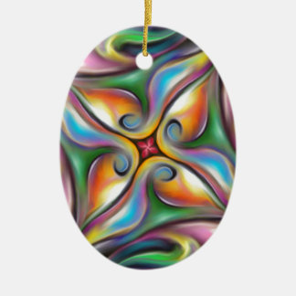 Colorful Swirling Softly Blended Paint Transitions Ceramic Ornament
