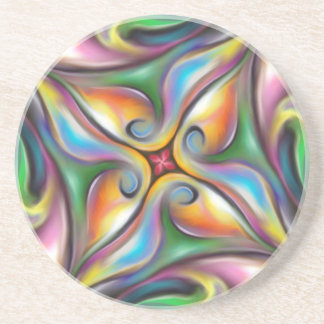 Colorful Swirling Softly Blended Paint Transitions Coaster