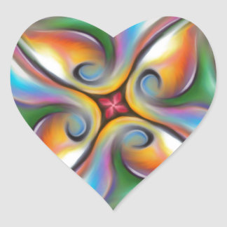 Colorful Swirling Softly Blended Paint Transitions Heart Sticker