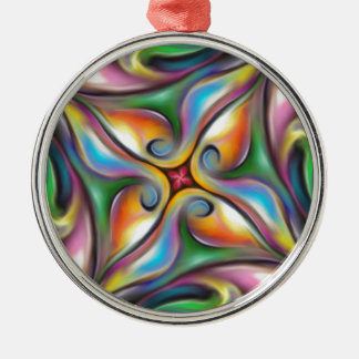 Colorful Swirling Softly Blended Paint Transitions Metal Ornament