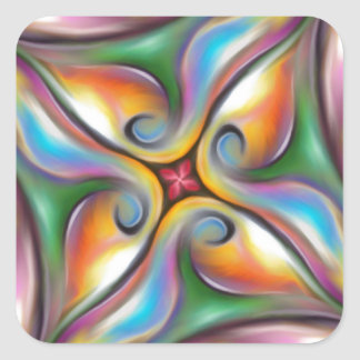 Colorful Swirling Softly Blended Paint Transitions Square Sticker
