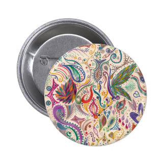 colorful swirls and doodles pinback button