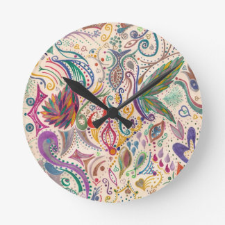 colorful swirls and doodles round wall clock