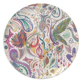 colorful swirls and doodles party plate