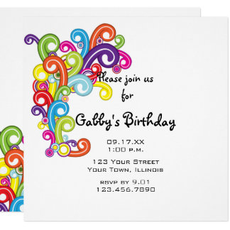Colorful Swirls Birthday Party Invitation