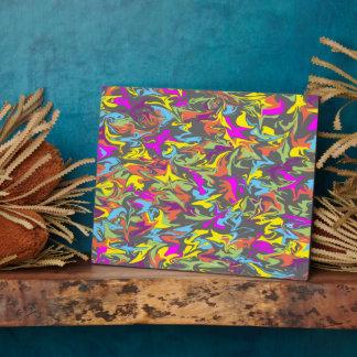 Colorful Swirls on Dark Gray Plaque