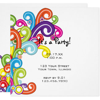 Colorful Swirls Party Invitation