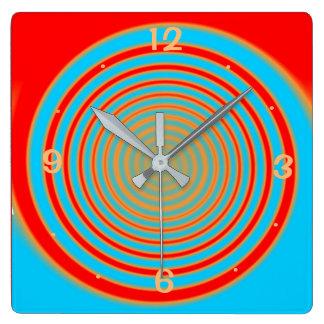 Colorful Swirly Red and Aqua> Kitchen Clock