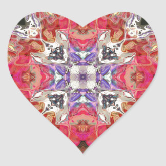 Colorful Symmetric Abstract Heart Sticker