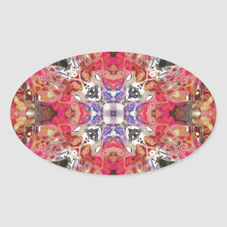 Colorful Symmetric Abstract Oval Sticker
