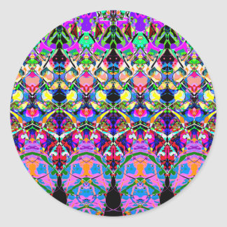 Colorful Symmetrical Abstract Round Stickers