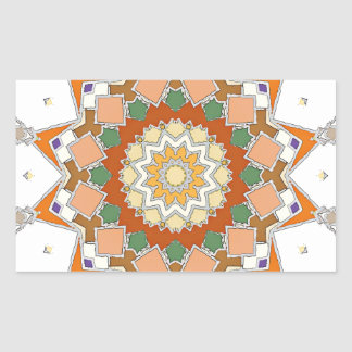 Colorful Symmetrical Star Rectangular Sticker
