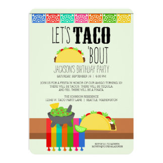 Colorful Taco Birthday Party 13 Cm X 18 Cm Invitation Card