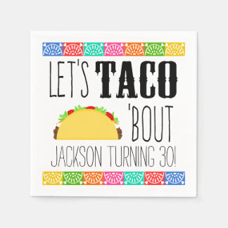 Colorful Taco Birthday Party Disposable Serviette