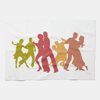 Colorful Tango Dancers Tea Towel