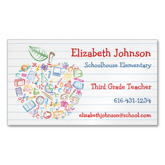 Colorful Teachers Apple Business Card Magnet