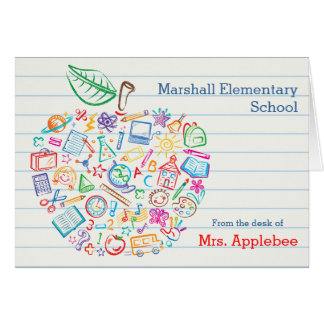 Colorful Teachers Apple Note Card