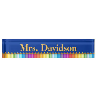 Colorful Teacher's Custom Desk Nameplate