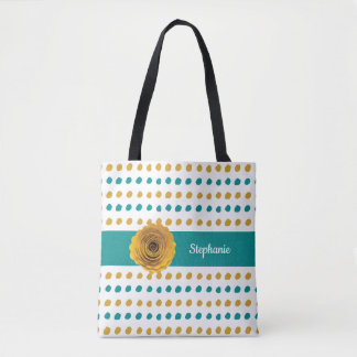 Colorful Teal and Gold Polka Dots Personalized Tote Bag