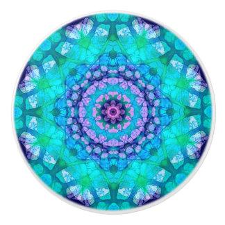 Colorful Teal and Purple Tropical Waters Mandala Ceramic Knob