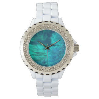 Colorful Teal Forest Rhinestone Watch