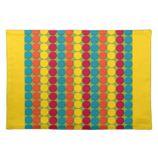 Colorful Teal, Orange, Yellow, and Red Dot Stripes Placemat