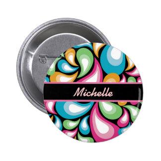 Colorful Teardrops Button