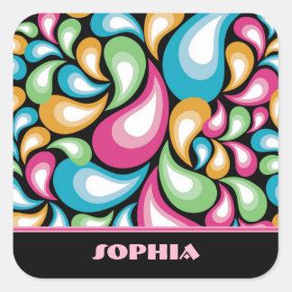 Colorful Teardrops Square Sticker