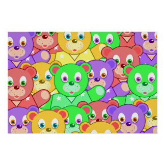 Colorful Teddy Bear Pattern Poster