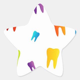 Colorful teeth star sticker