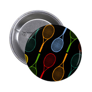 colorful tennis rackets pattern 6 cm round badge