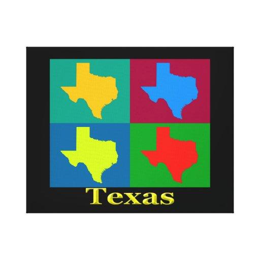 Colorful Texas Pop Art Map Canvas Prints