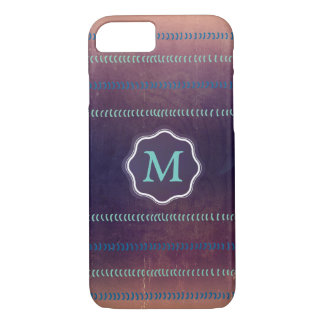 Colorful Textured Monogram Lines Pattern Case