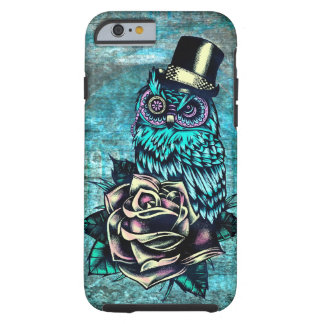Colorful textured owl illustration on teal base. tough iPhone 6 case
