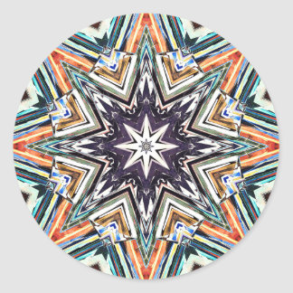 Colorful Textured Star Classic Round Sticker