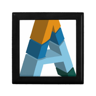Colorful three-dimensional font letter a small square gift box
