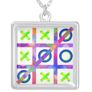 Colorful Tic Tac Toe Silver Plated Necklace
