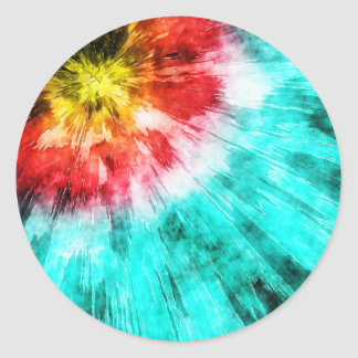 Colorful Tie Dye Classic Round Sticker