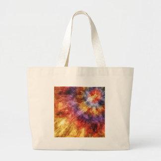 Colorful Tie Dye Rings Large Tote Bag