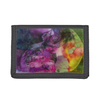 Colorful Tie-Dye Skull Image on a Tri-Fold Wallet
