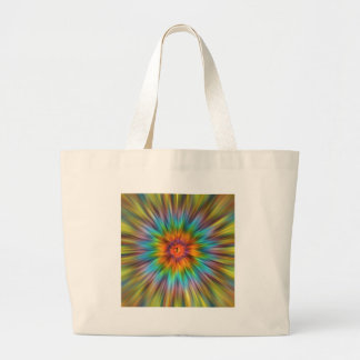 Colorful Tie Dye Starburst Large Tote Bag