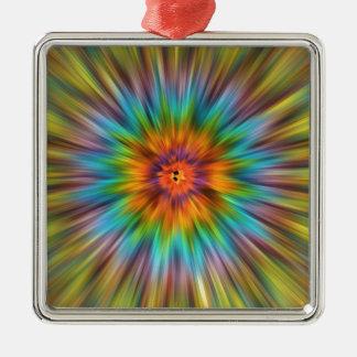 Colorful Tie Dye Starburst Metal Ornament