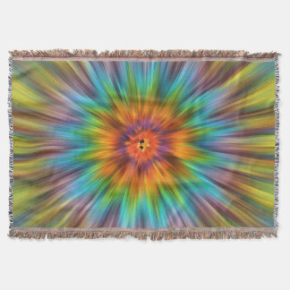 Colorful Tie Dye Starburst Throw Blanket