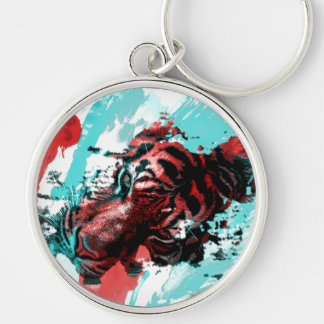 Colorful Tiger Animal Silver-Colored Round Key Ring